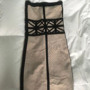 Bebe Nude Strapless Cocktail Party Dress